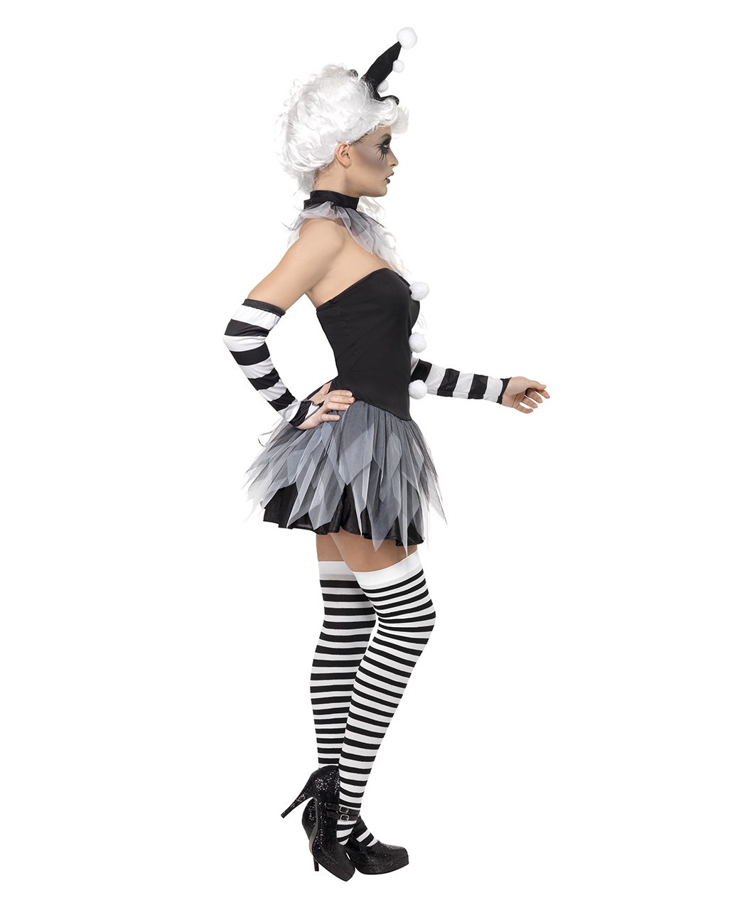 circus sinister pierrot damen kost m sexy pierrot kost m als minikleid horror. Black Bedroom Furniture Sets. Home Design Ideas
