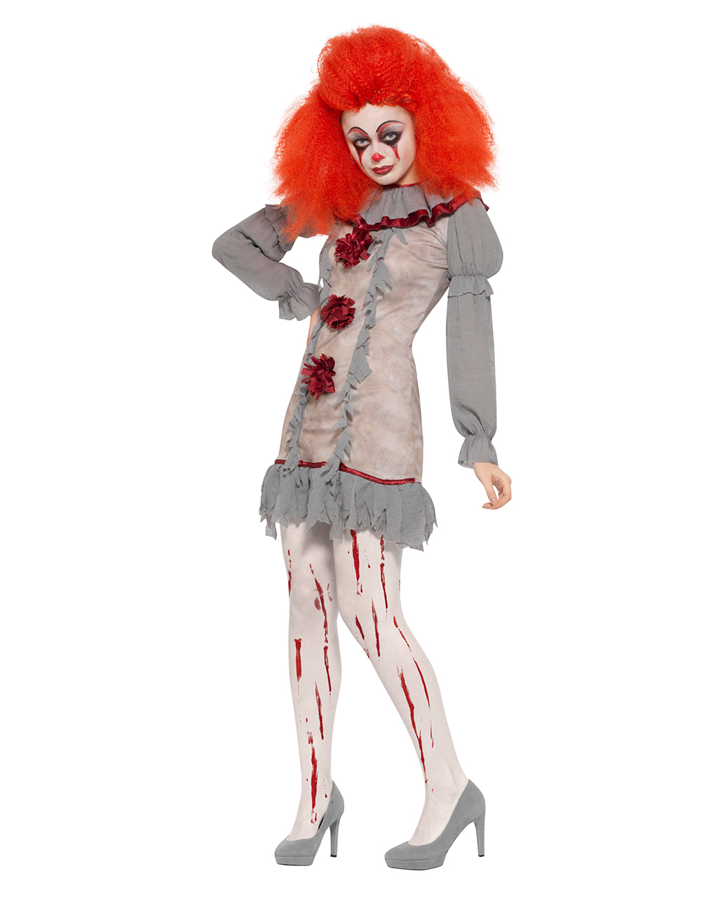 Halloween 3er Kostuem.Kostume Cod 325287 Psycho Clown Kostum Fur Damen Halloween Kostum Grau Rot Kleidung Accessoires
